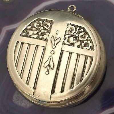 GERMANY c1900 Beautiful Sterling Silver Pillbox Chatelaine Pendant w Mirror-L714