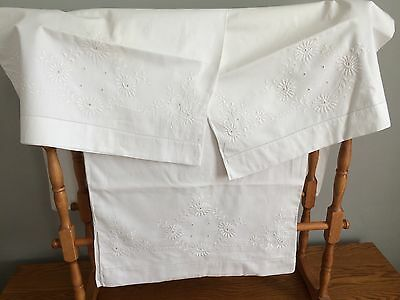 Vintage Linen Open Ended Embroidered Pillowcases And Bolster Case ~ White
