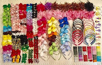 Lot of assorted Boutique Grosgrain Hair Bows w/Clips Baby Toddler Girls 281 pcs!