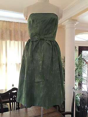 Vintage Strapless Wiggle Dress Iridescent Green Taffeta Party Rockabilly