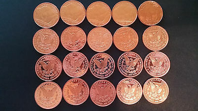 Set of 20 .999 Fine Copper rounds - many holiday, some coins each 1 oz