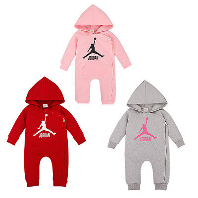 2019 Baby Jordan 23 Romper +Hat Boy Girl Long Sleeve Babygrow Outfits Set 0-18 M