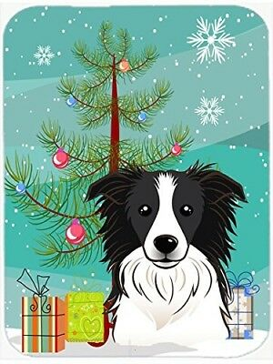 Caroline's Treasures BB1613LCB Christmas Tree and Border Collie Glass Cutting