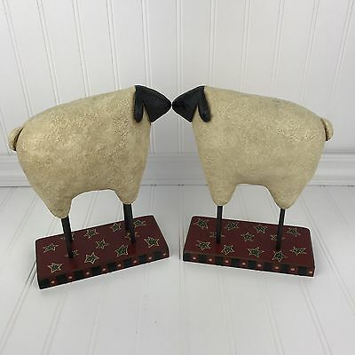Primitive Folk Art Sheep ~ Figural Farm Animal  On Base W/Stars ~ Country Decor