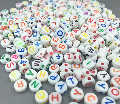 200pcs Mixed Round Acrylic Letter/ Alphabet Spacer Beads 7x 7mm
