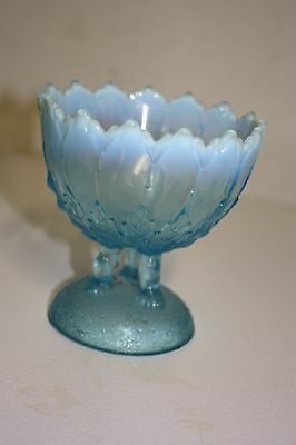 "Vintage 5"" Blue Opalescent Glass Footed Bowl Candy Dish"
