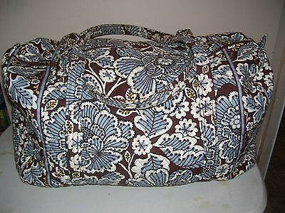 Vera Bradley Slate Blooms Large Duffel Travel Bag Excellent Condition