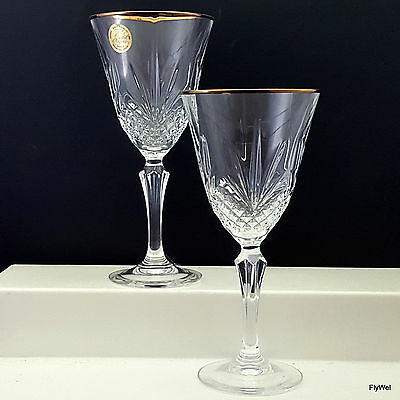 Cristal de Flandre D'Arques Salzburg Gold Water Goblets Set of 2 Fan Diamond