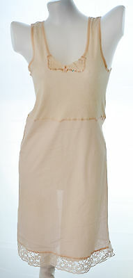 Ladies nylon full slip with lace no.136 light rose beige size L