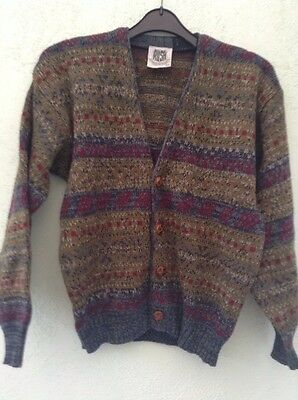 """Vintage Boys V Neck Cardigan Size 32"""" From Rush Multi With 4 Button Fastening"""