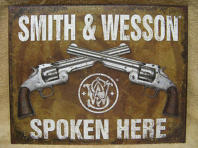 Smith & Wesson Spoken Here Tin Metal Sign Decor Hunting Outdoors NEW