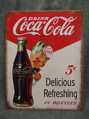 Coca Cola Coke Pop Soda New Vintage Look Cute Tin Metal Sign Decor