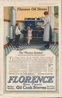 1916 Florence Oil Cook Stove Kitchen Mother Children Ad9629