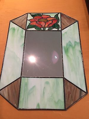"""Vintage Leaded Stained Glass Decorative Hanging Mirror Floral 16"""" x 12"""""""