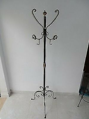 Coat Hangers Hanger Wrought Iron Stand a 3 Places Inserts Brass