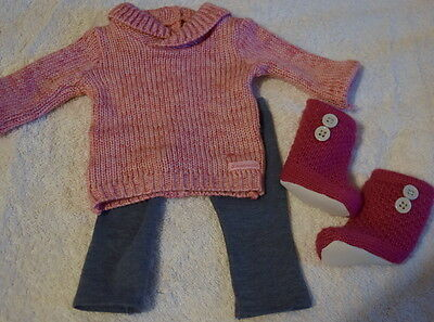 American Girl Doll Cozy Sweater Outfit Leggings Knit Boots