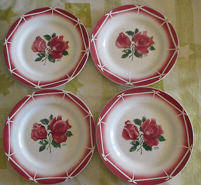 4 assiettes anciennes faience Cibon Digoin Antique French Ceramic Plates Roses