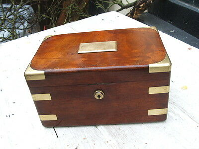 antique  mahogany tea caddy,campaign