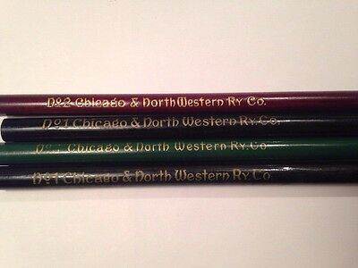 Lot of 4 Vintage Chicago & Northwestern Ry. Co. Wooden Pencils Unsharpened