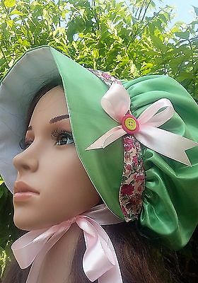 Ladies VICTORIAN REGENCY Faux Silk BONNET Hat Dickens Country Costume Christmas