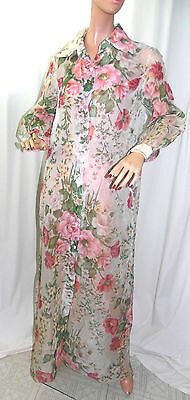 Vtg 1950s FLORAL Print SHEER See THRU Chiffon COCKTAIL Dress JACKET Coat WRAP XL