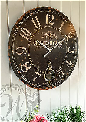 Antique Wooden Chateau Station Wall Clock Vintage Shabby Chic Pendulum French 60