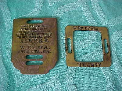 Vintage 2 Piece Brass Bagge Tag From The Atlanta & West Point & W.ry. Of A