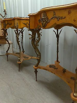 Pair Of Bronze Ormolu Black Marble Top French/empire Tables