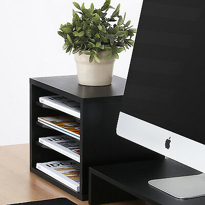 FITUEYES Wood Desk Organizer Black Workspace  Paper Home Holder Desktop Storage