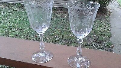 "Fostoria Etched Meadow Rose 7 3/4""  Tall Water Goblets  Set of 2"