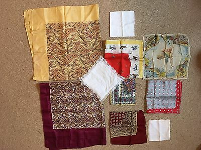 9 Vintage Handkerchiefs And Scarves Silk Embroidered Case