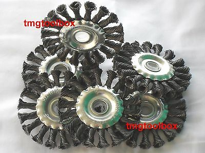 6 Pc 4'' Knotted Wire Twisted Wheel Brush For Angle Grinder 1/2 Or 5/8'' Steel