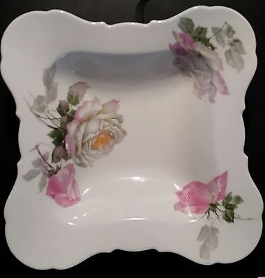 FRIEDRICH KAESTNER Germany Porcelain China Square Serving Bowl Gray Pink Roses