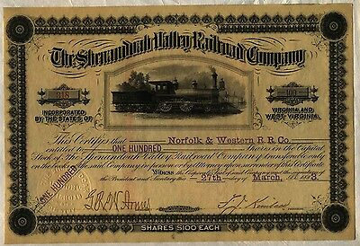 Shenandoah Valley Railroad Company Stock Certificate Virginia West Norfolk