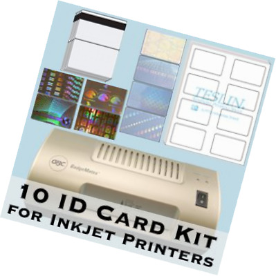 10 ID Card Kit - Laminator, Inkjet Teslin, Butterfly Pouches, and Holograms - Ma