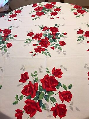 Vintage Red Rose Print Tablecloth 50x50