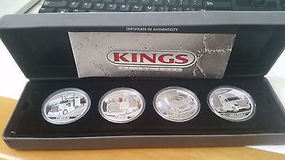 2010 Tuvalu 1$ Kings of the Road 4 x 1Oz .999 Silver Coin Proof Set 4000 mintage