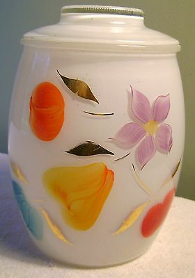 """8"""" Vintage Hand Painted Fruit & Flowers Cookie Jar Canister"""