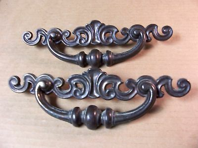 (2) Vintage Brass Finish Drawer Pulls / Handles -- Large -- W/ Original Screws