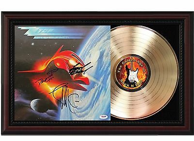ZZ Top - Afterburner - 24k Gold LP Record With Reprint Autograph In Wood Frame