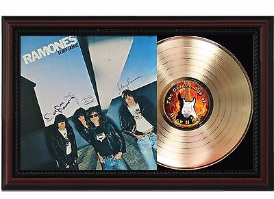 Ramones - Leave Home - 24k Gold LP Record With Reprint Autograph In Wood Frame