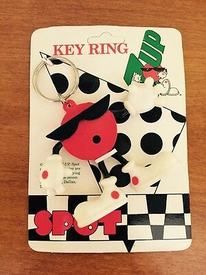 Vintage 1991 7up Soda Spot Key Ring Chain Figure In Original Packing