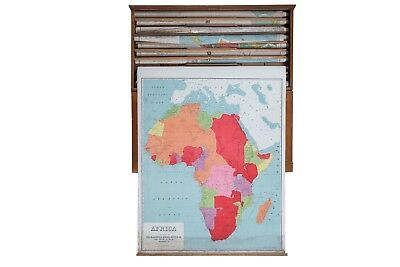 Vintage Pull Down Map Africa
