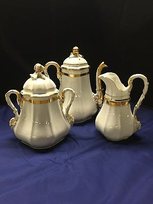3 Piece Antique 19th Century Old Paris Porcelain Tea Service/ Set