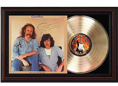 Crosby and Nash - 24k Gold LP Record With Reprint Autographs In Wood Frame