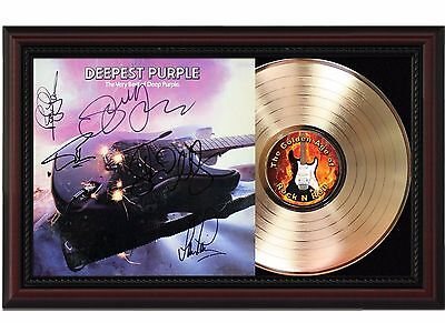 Deep Purple - 24k Gold LP Record With Reprint Autographs In Cherry Wood Frame