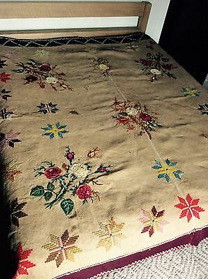 Large ANTIQUE Early 1900s French Hand Embroidered Bed Cover Wall Hanging