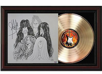 Aerosmith - 24k Gold LP Record With Reprint Autographs In Cherry Wood Frame