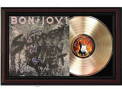 Bon Jovi - 24k Gold LP Record With Reprint Autographs In Cherry Wood Frame