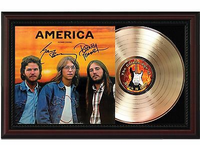America - Homecoming - 24k Gold LP Record With Reprint Autograph In Wood Frame